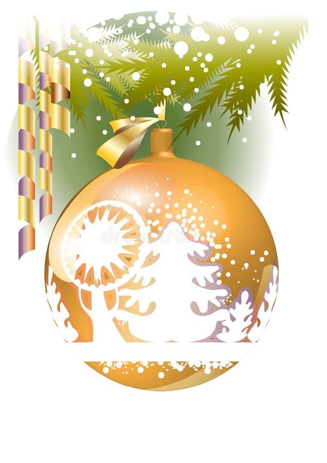 Esfera do Natal do ouro ilustração royalty free