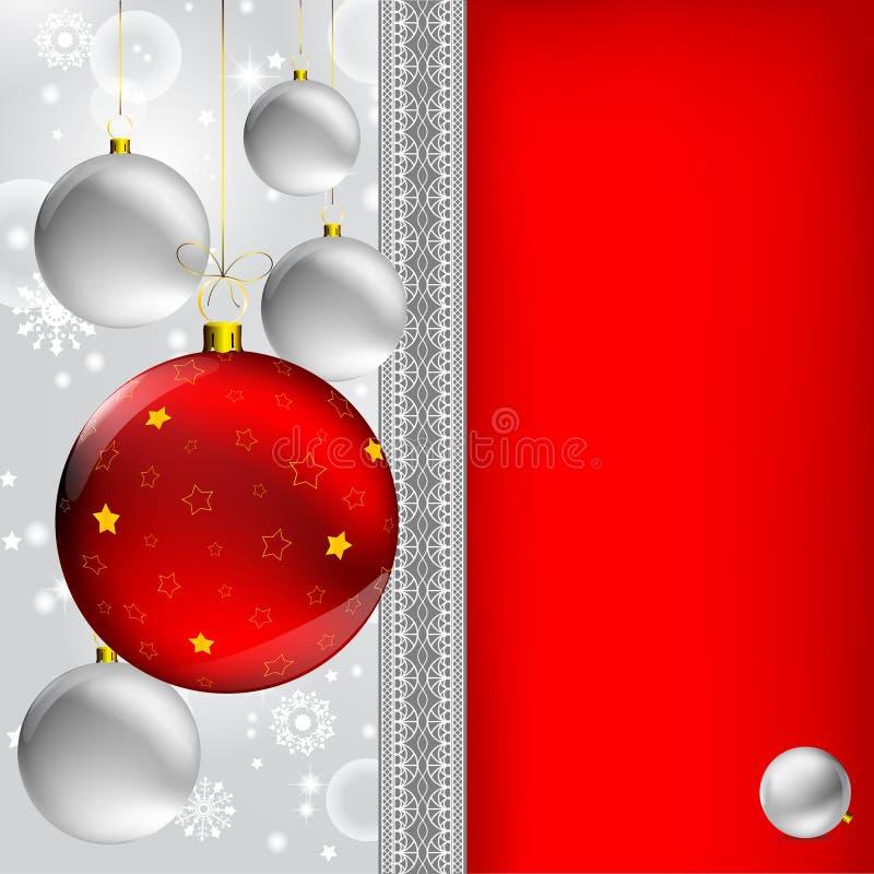 Esfera do Natal no cinza abstrato do inverno ilustração stock