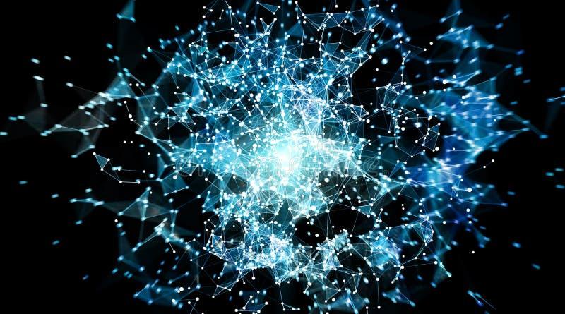 Esfera do sistema das conexões e rendição das trocas de dados 3D ilustração stock