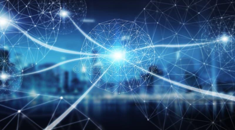 Esfera do sistema das conexões e rendição das trocas de dados 3D ilustração royalty free