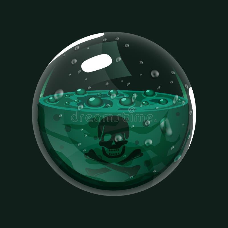 Esfera do veneno Ícone do jogo da esfera mágica Relação para o jogo rpg ou match3 veneno Variação grande ilustração stock