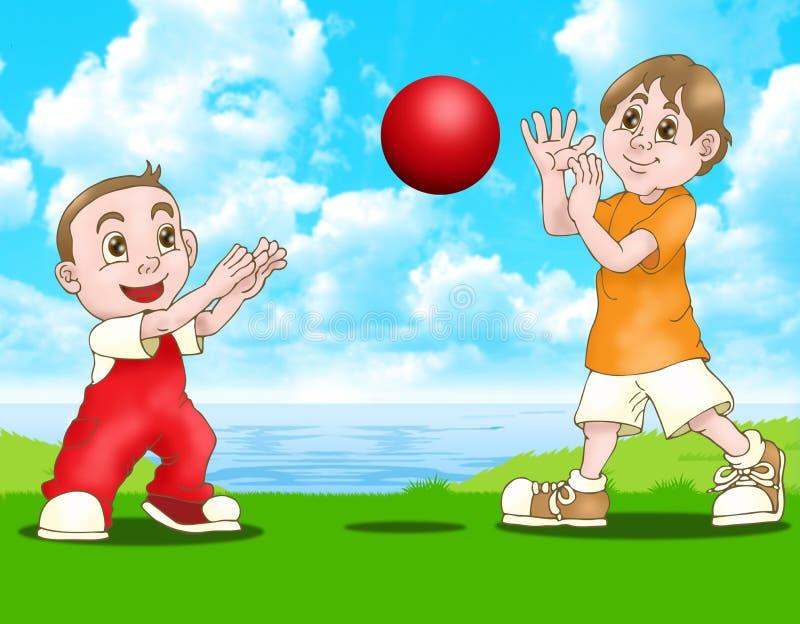 Esfera do vermelho do jogo de dois meninos