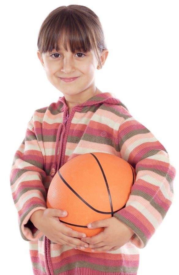 Esfera do whit da menina do basquetebol fotos de stock royalty free