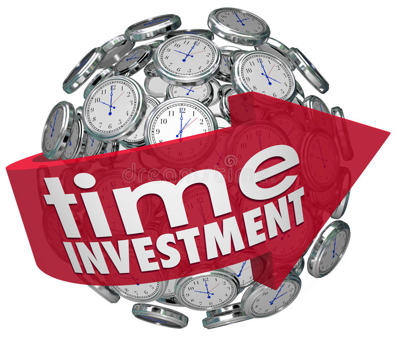 A esfera dos pulsos de disparo da seta das palavras do investimento do tempo controla recursos ilustração stock