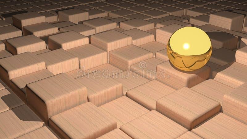 Esfera dourada ilustração do vetor