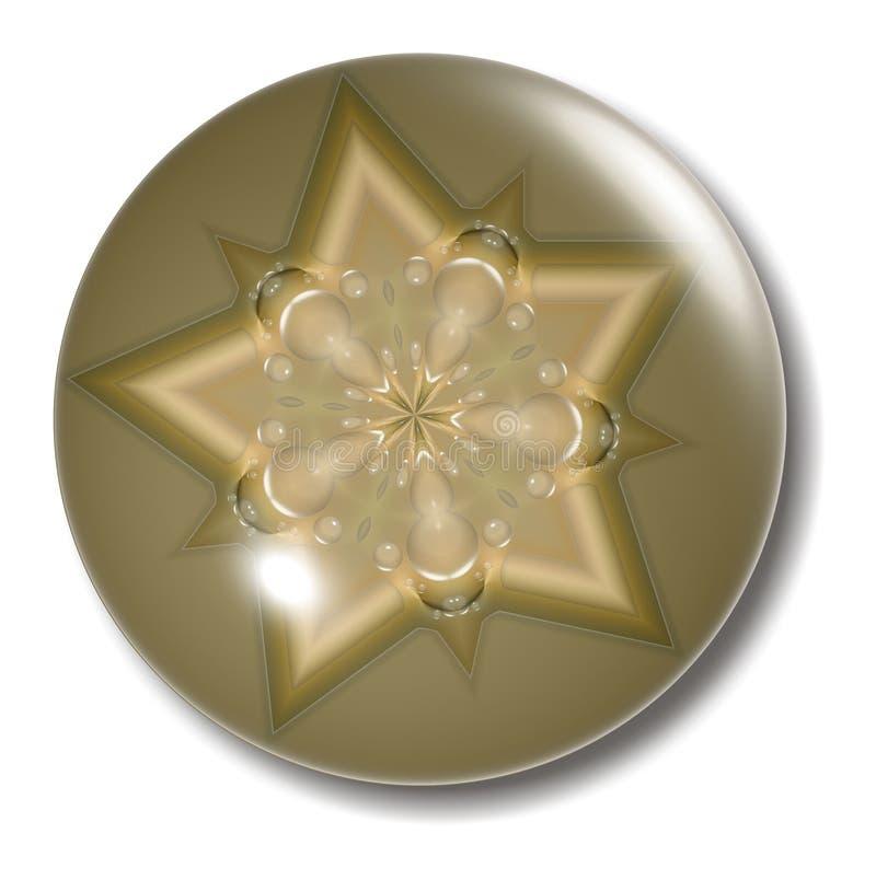 Esfera dourada da tecla da estrela ilustração royalty free