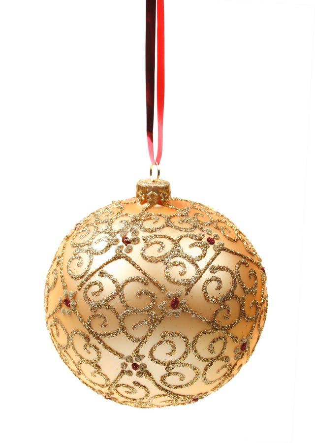 Esfera dourada do Natal fotos de stock royalty free