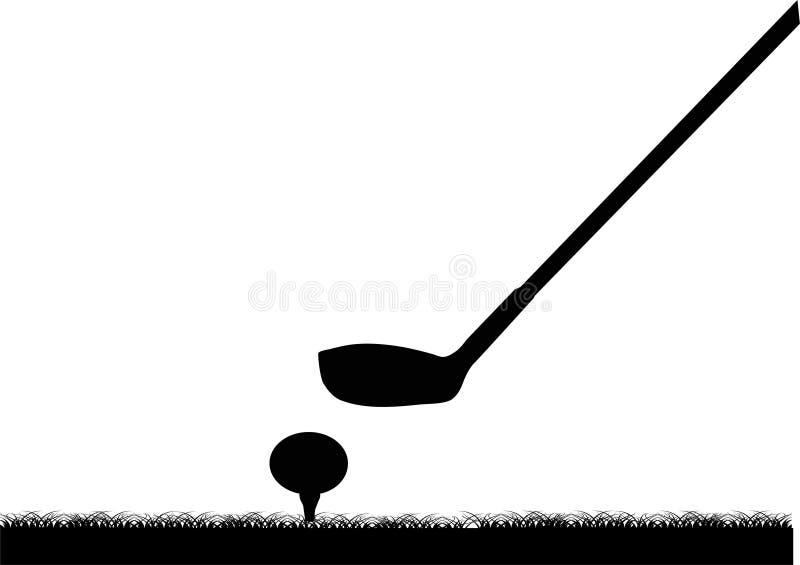 Esfera e clube de golfe ilustração stock