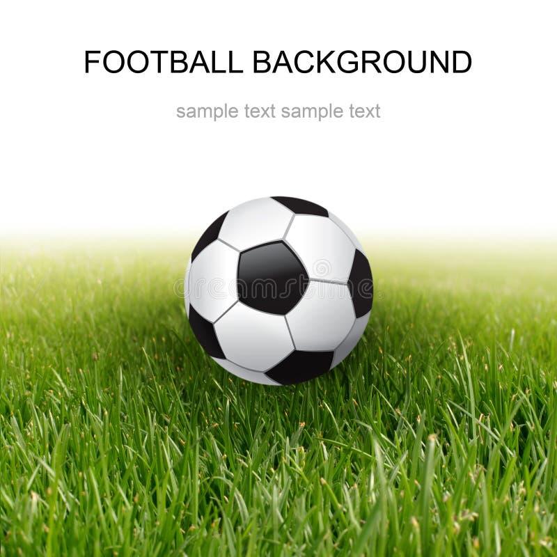 Esfera e grama de futebol foto de stock