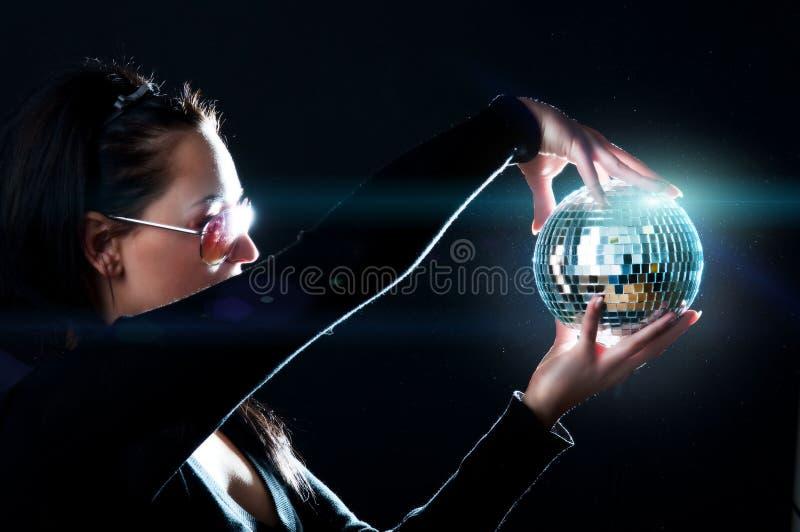 Esfera e menina de brilho imagem de stock royalty free