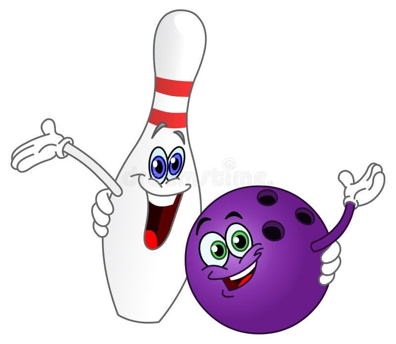 Esfera e pino de bowling ilustração stock