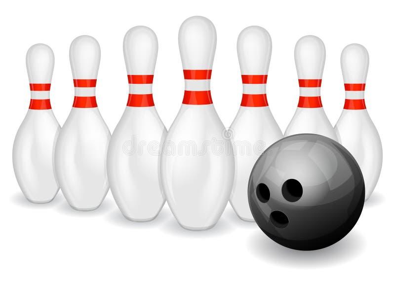 Esfera e pinos de bowling ilustração stock