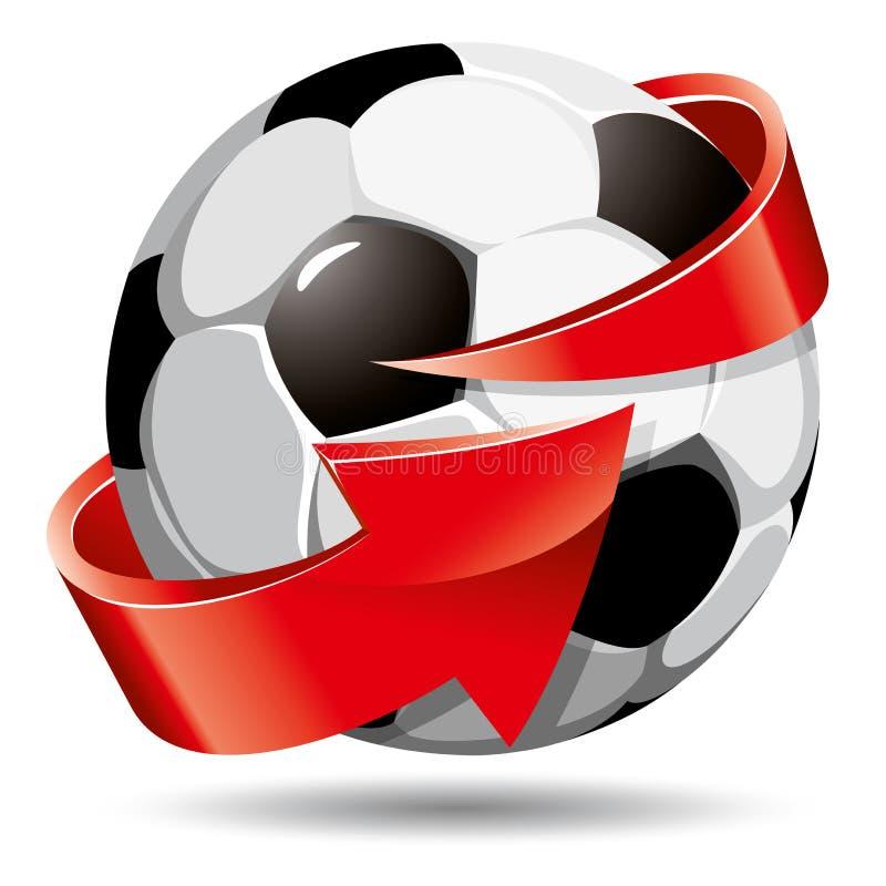 Esfera e seta de futebol ilustração do vetor