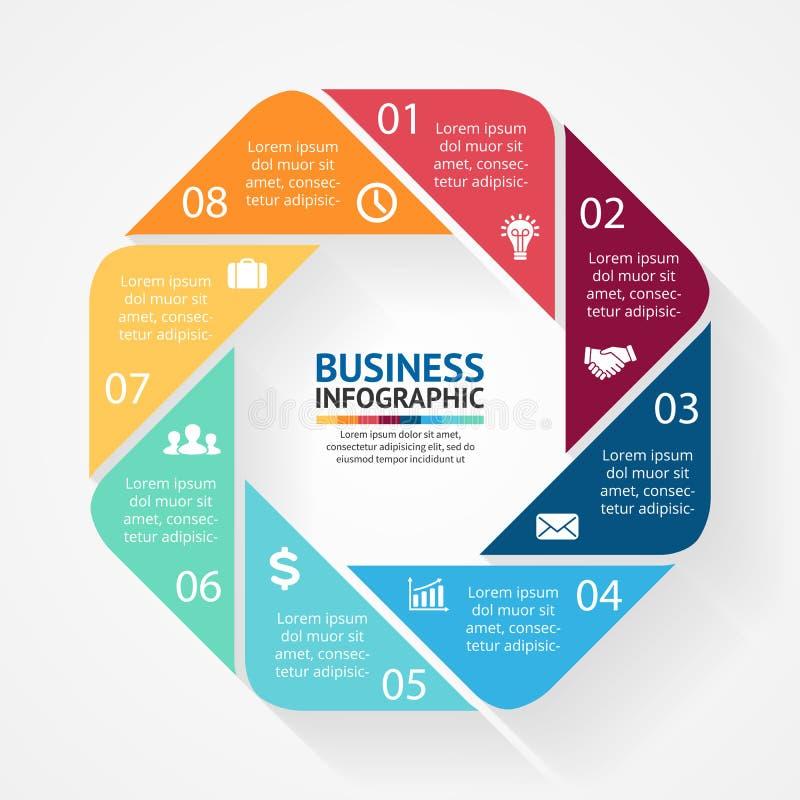 Esfera económica infographic, diagrama con opciones stock de ilustración