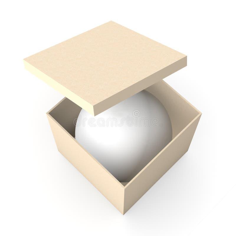 Esfera em uma caixa ilustração do vetor
