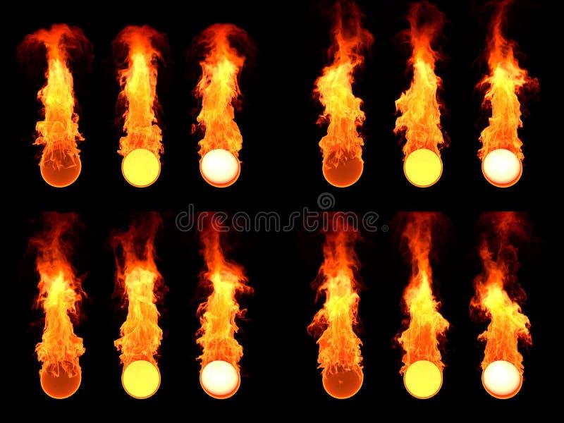 Esfera en fuego Mucho versión imagenes de archivo