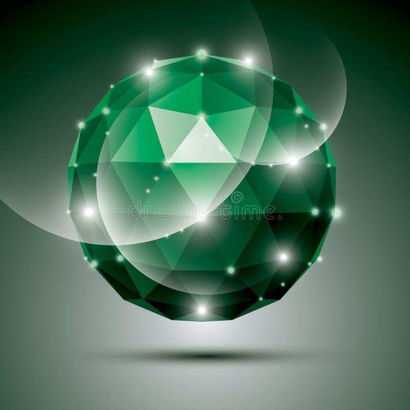 Esfera esmeralda abstrata da gala 3D com efeito de pedra preciosa, glos verdes ilustração stock