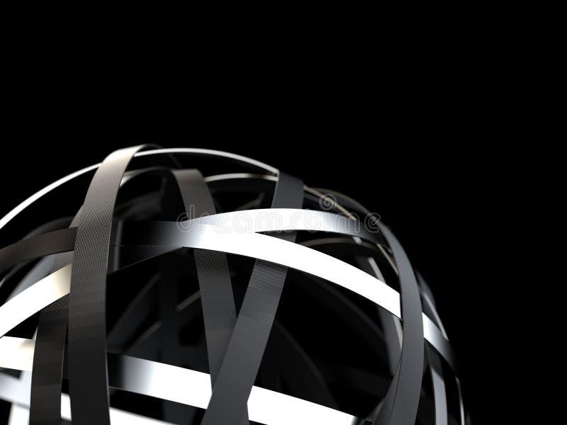 Esfera futurista con cromo y anillos negros stock de ilustración