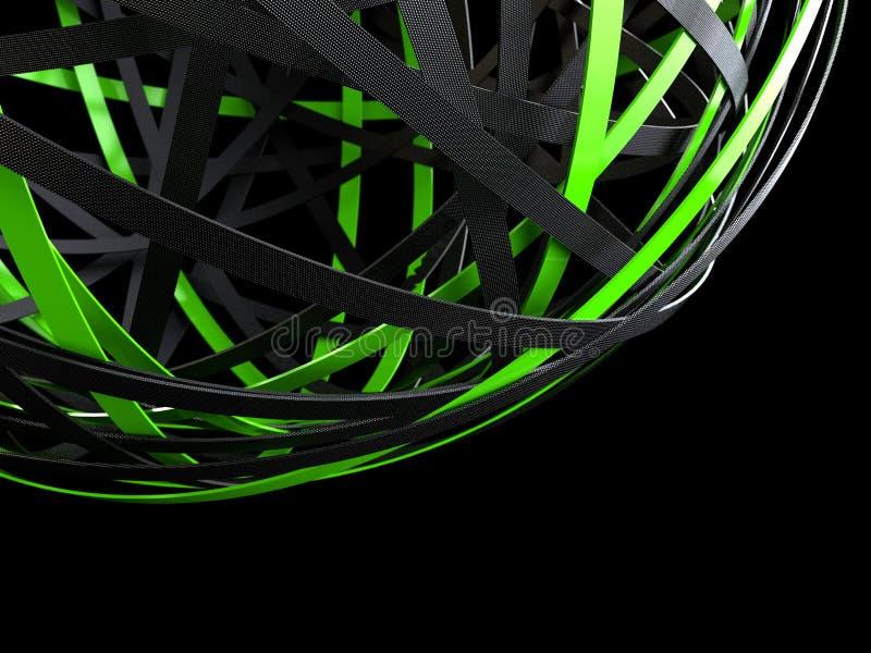 Esfera futurista de anéis pretos e verdes ilustração stock