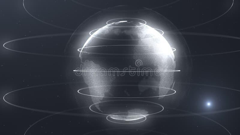 Esfera futurista de puntos Interfaz de la globalización Sentido de los gráficos abstractos de la ciencia y de la tecnología repre stock de ilustración