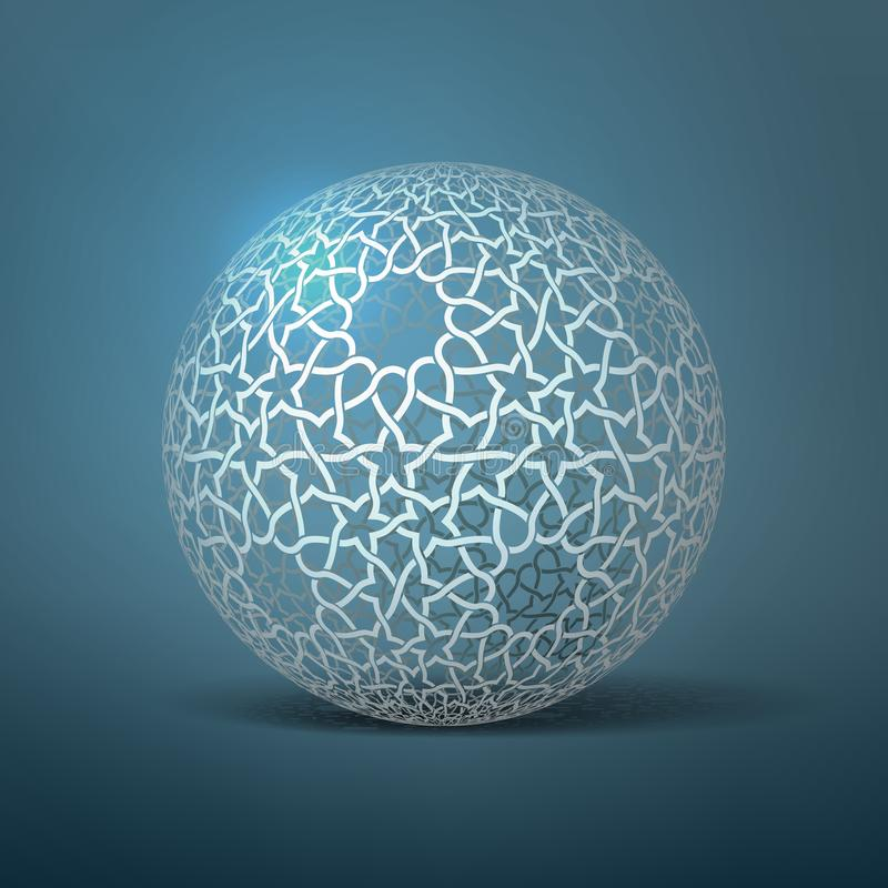 Esfera geométrica abstracta del vector De acuerdo con los ornamentos étnicos Rayas de papel entrelazadas stock de ilustración