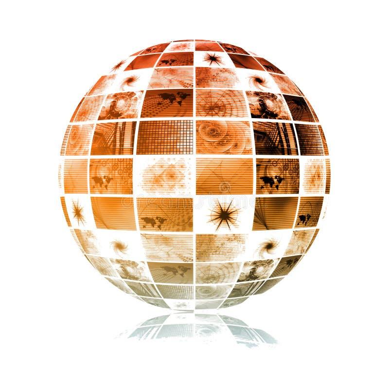Esfera global do mundo da tecnologia dos media ilustração do vetor