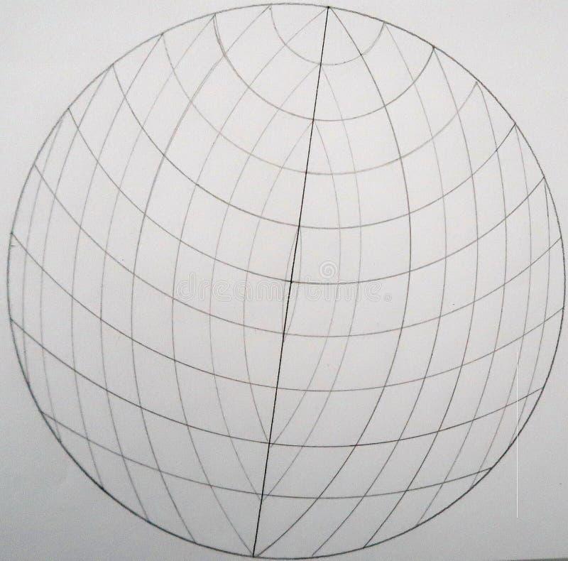 Esfera hecha de círculos y de ligns stock de ilustración