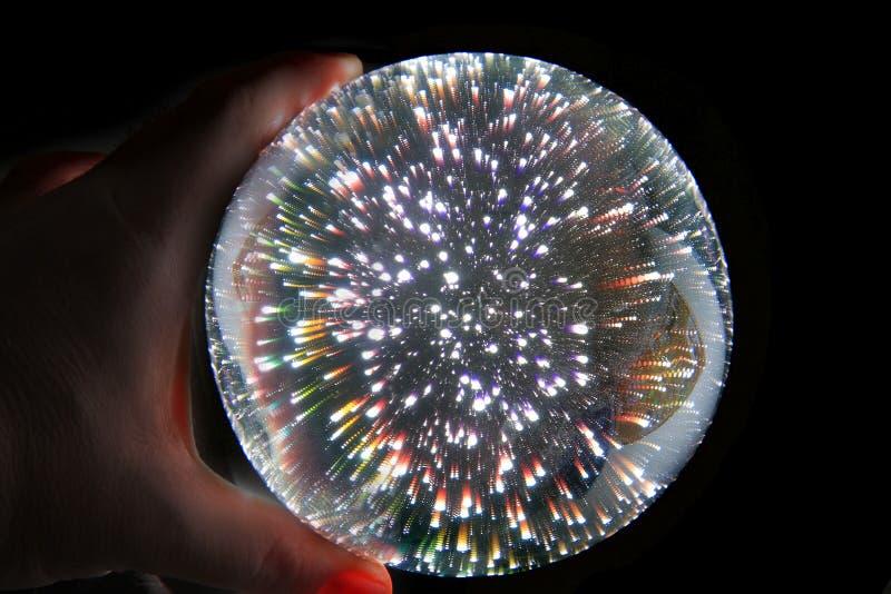 esfera mágica clara na mão humana imagens de stock