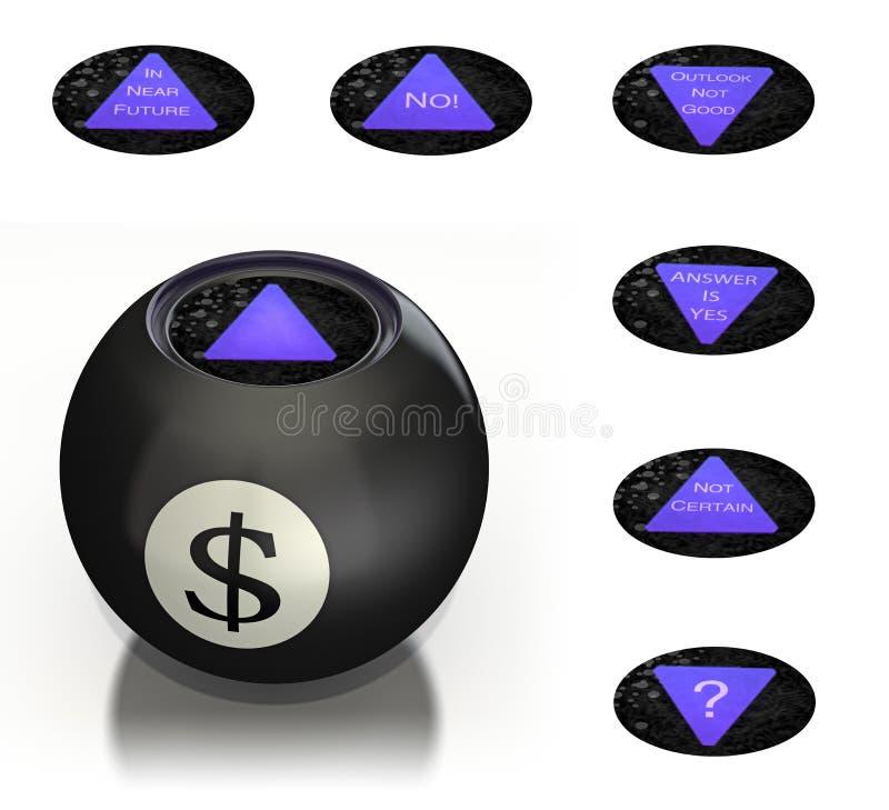 A esfera mágica do dinheiro prevê o futuro ilustração royalty free