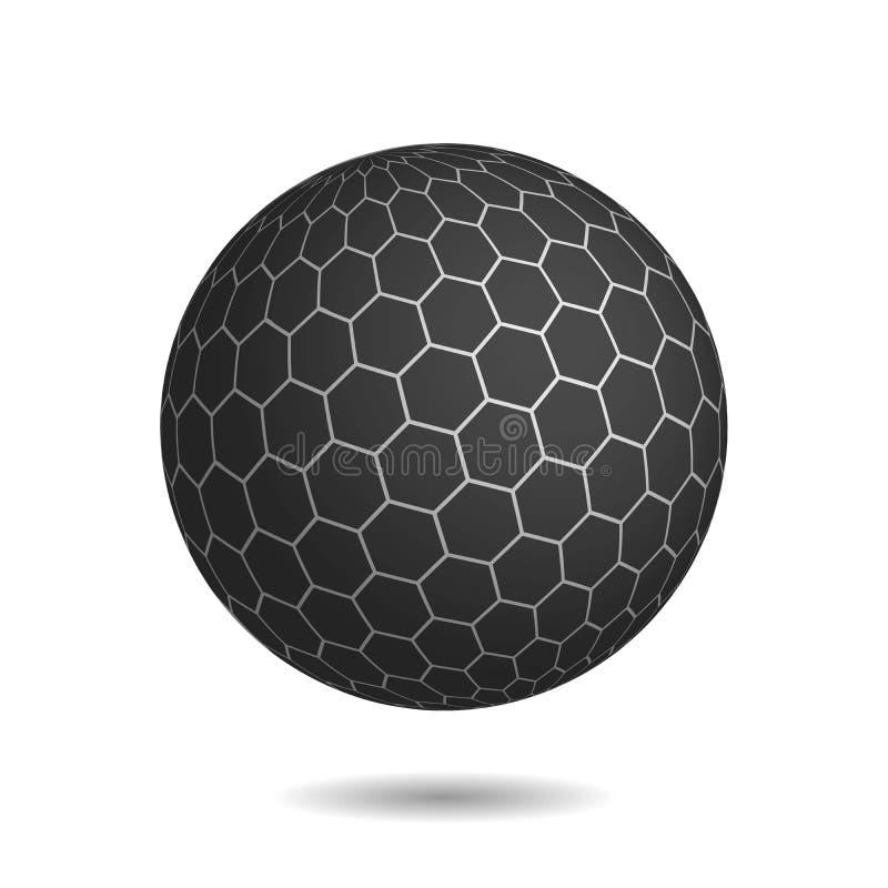 Esfera mágica oscura con la superficie de hexágonos ilustración del vector