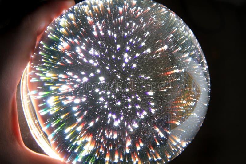 esfera m?gica clara na m?o humana fotografia de stock royalty free