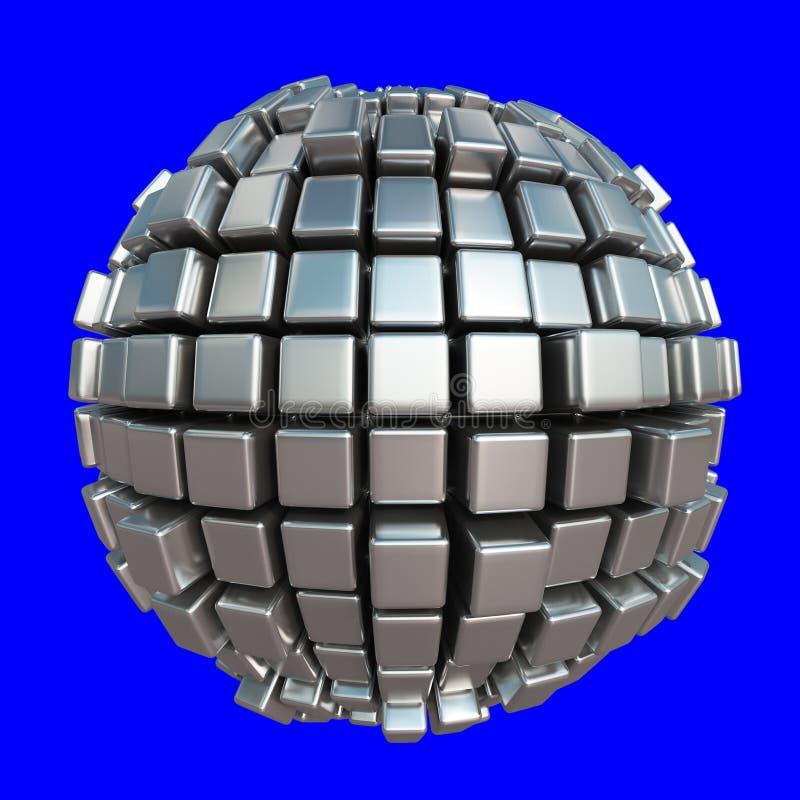 Esfera metálica do cubo no fundo azul ilustração royalty free
