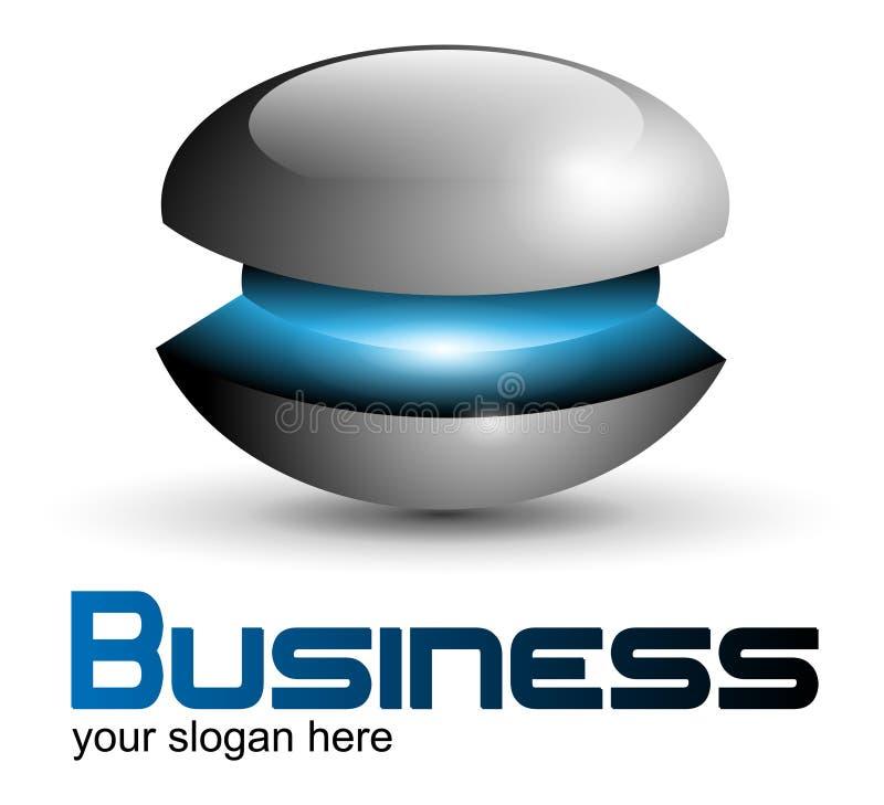 Esfera metálica do projeto do logotipo ilustração stock