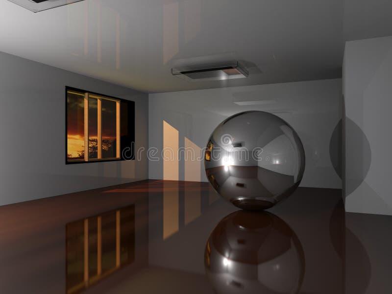 Esfera metálica em uma sala no por do sol ilustração stock