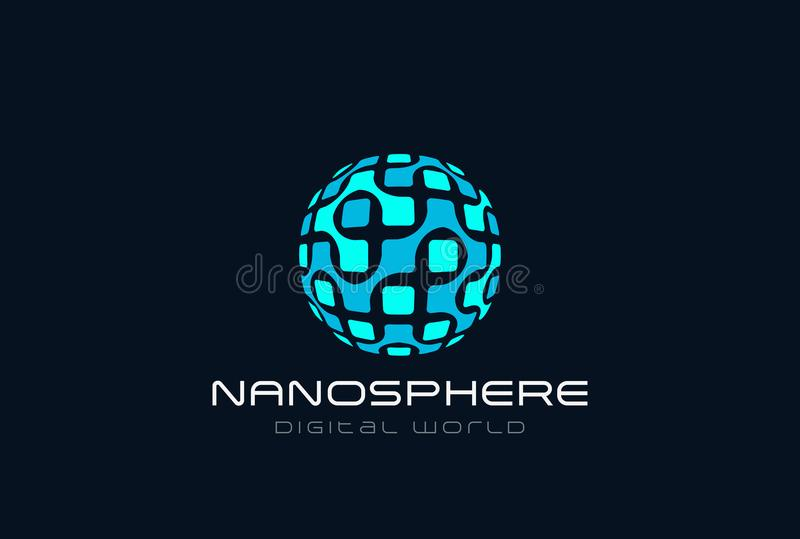 Esfera molecular Lo da eletrônica do ADN da nanotecnologia ilustração royalty free