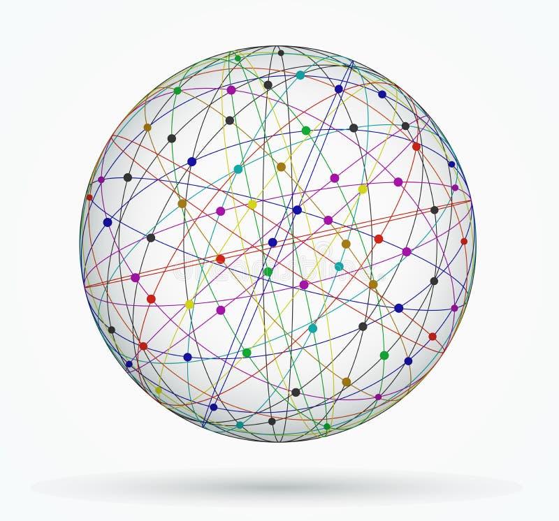 Esfera multicolora de conexiones digitales globales, red libre illustration