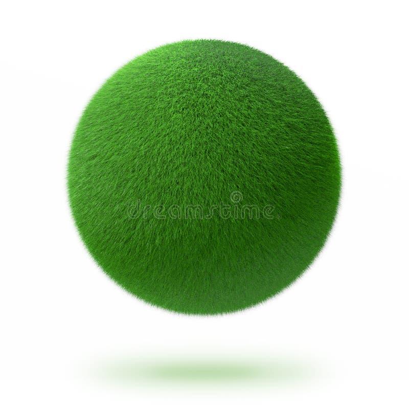 Esfera o bola verde cubierta con la hierba fotografía de archivo