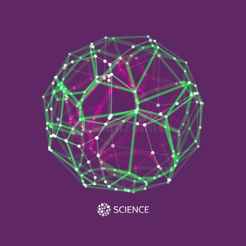 esfera objeto del wireframe del vector 3d Ejemplo con las l?neas y los puntos conectados Dise?o abstracto de la rejilla Estructur stock de ilustración