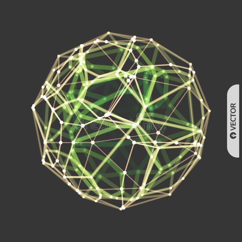 esfera objeto do wireframe do vetor 3d Ilustra??o com linhas e os pontos conectados Projeto abstrato da grade Estrutura da conex? ilustração royalty free