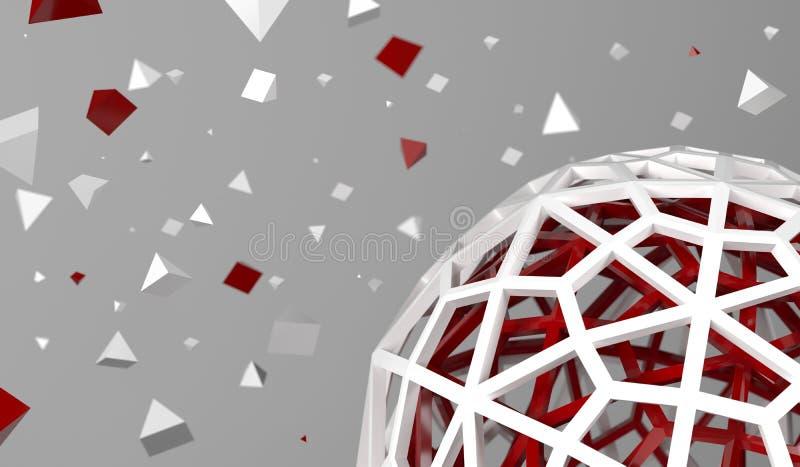 Esfera oca com partículas caóticas da pirâmide ilustração royalty free