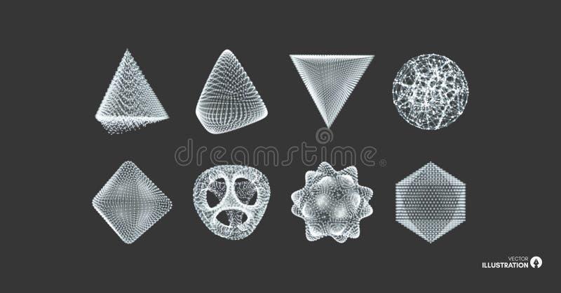 Esfera, octahedron e pirâmide Objetos com linhas e pontos Grade molecular Ilustração do vetor estilo da tecnologia 3D ilustração royalty free