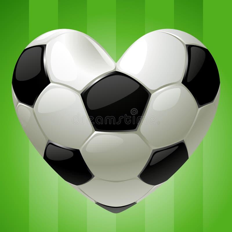Esfera para o futebol na forma do coração ilustração royalty free