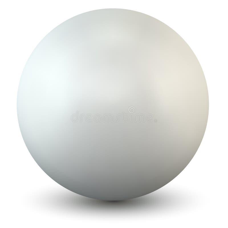 Esfera plástica blanca en el fondo blanco stock de ilustración