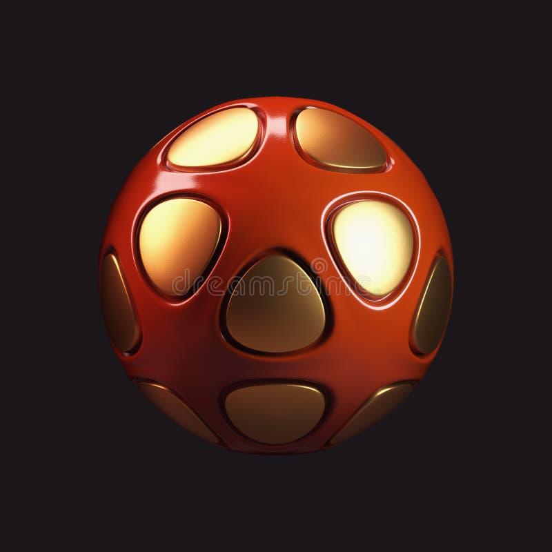 esfera plástica roja brillante 3D stock de ilustración