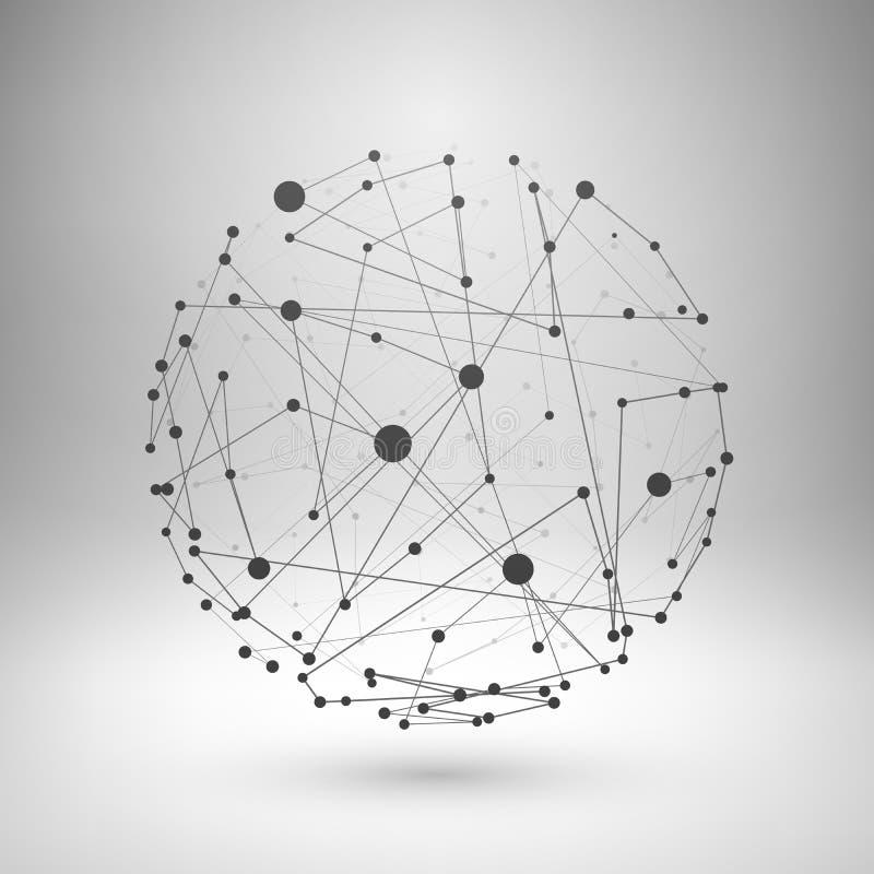 Esfera poligonal da malha de Wireframe ilustração royalty free
