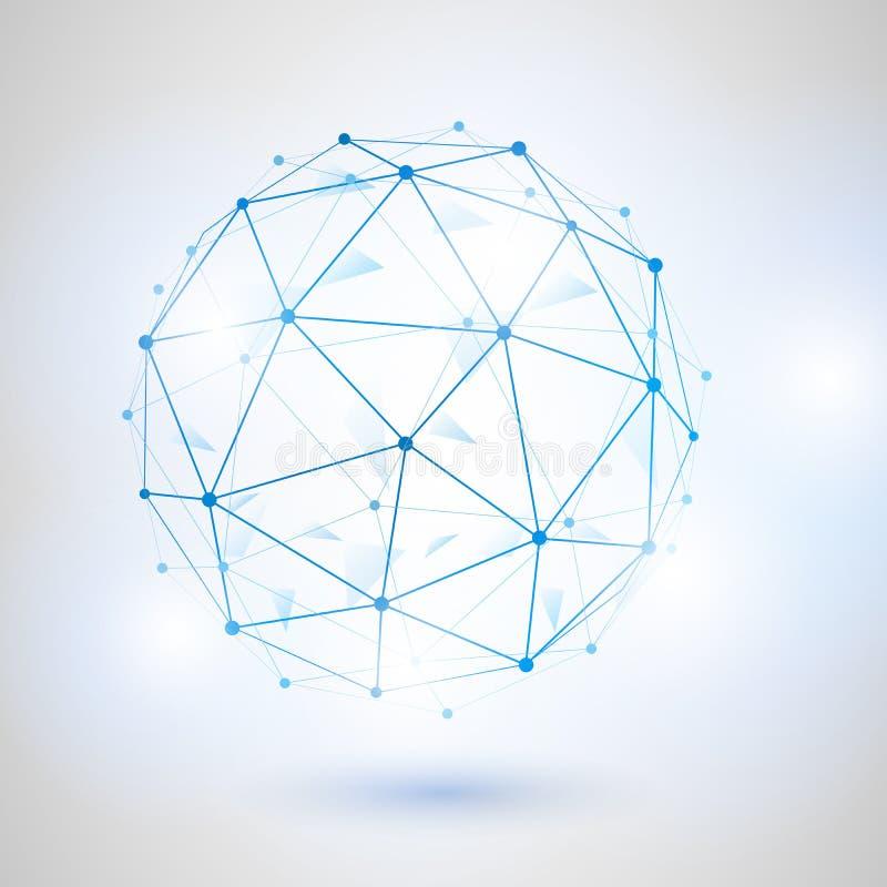 Esfera poligonal do vetor da malha de Wireframe 3D ilustração do vetor