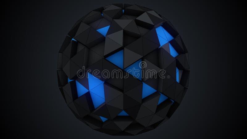 Esfera polivinílica baja 3D abstractos rinden el ejemplo ilustración del vector