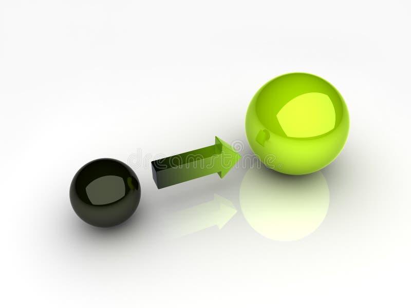 Esfera preta e verde ilustração stock