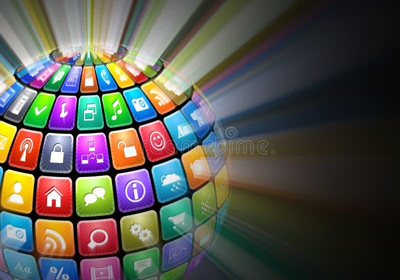 Esfera que brilla intensamente de iconos de la aplicación del color ilustración del vector
