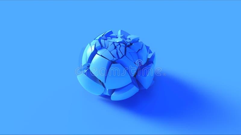 Esfera rachada azul ilustração do vetor